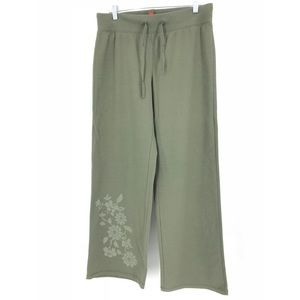 Sundance Sz M Sweat Pants Olive Green Floral